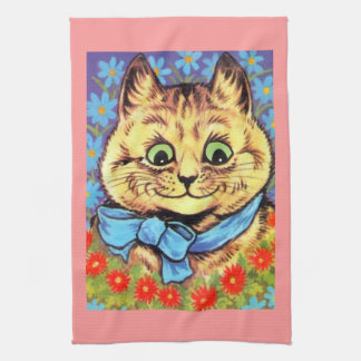 Vintage Wain Cat With Flowers Kitchen Towel
