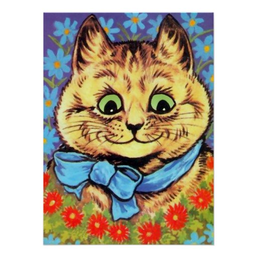 Vintage Wain Cat With Flowers Poster