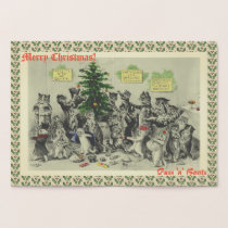 Vintage Wain Cats Christmas Party Fun Foil Card