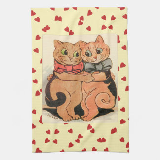 Vintage Wain Cuddling Cats Art Kitchen Towel