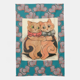 Vintage Wain Cuddling Cats Heart Art Hand Towel