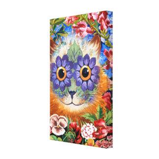 Vintage Wain Flower Cat Art Wrapped Canvas Stretched Canvas Prints