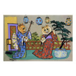 Vintage Wain Japanese Musical Cat Poster Print