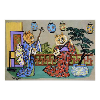 Vintage Wain Japanese Musical Cat Poster Print