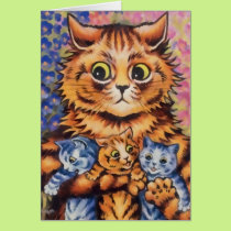 Vintage Wain Mother and Kittens Card