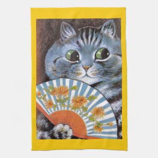 Vintage Wain Opera Tabby Cat Art Tea Towel