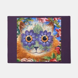 Vintage Wain Purple Hippie Flower Cat Art Doormat
