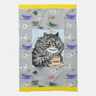 Vintage Wain Tea Cup Cat Name Kitchen Towel