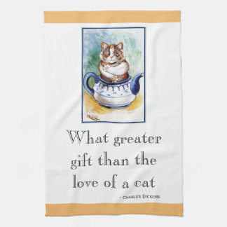 Vintage Wain Teapot Cat Art Quote Kitchen Towel
