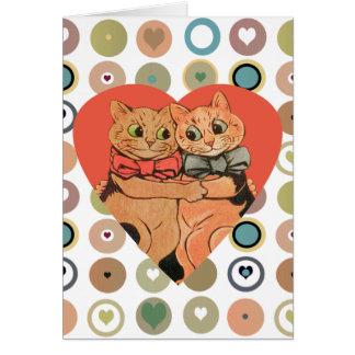 Vintage Wain Valentine Cat Couple Card