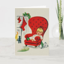 Vintage Waiting For Santa Christmas Card