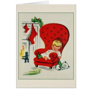 Vintage Waiting For Santa Christmas Card
