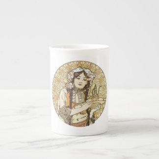 Vintage Waitress Art Nouveau Porcelain Mugs