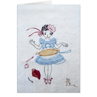 Vintage Waitress Note Card