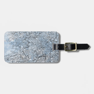 Vintage Wales England Region Map Travel Bag Tag