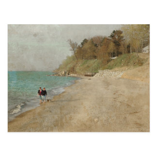 Vintage Walk on the Beach Postcard