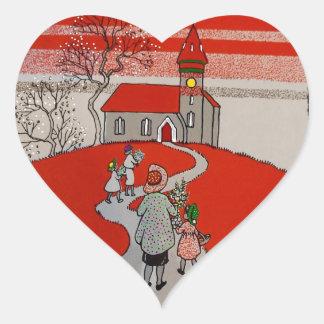 Vintage Walk to Church Heart Sticker