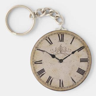 Vintage Wall Clock Basic Round Button Keychain