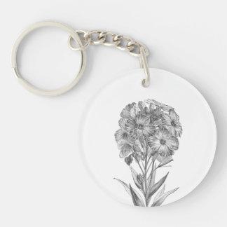 Vintage Wall flower etching keychain