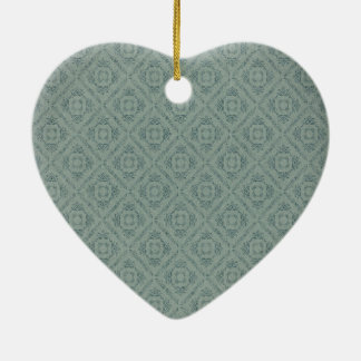 Vintage Wall Paper Style heart Ceramic Ornament