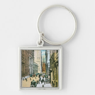 Vintage Wall Street Looking West, New York City Keychain