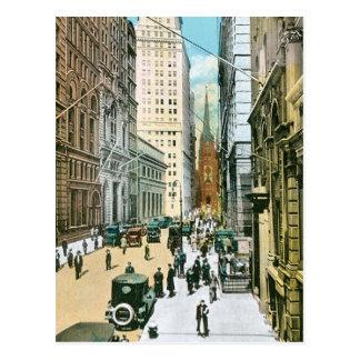 Vintage Wall Street Looking West, New York City Postcard