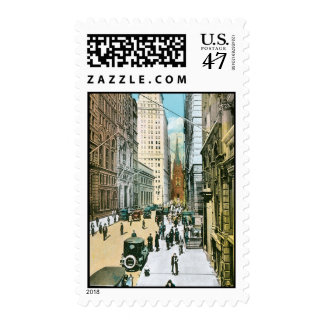 Vintage Wall Street Looking West, New York City Stamp
