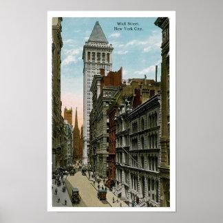 Vintage Wall Street, New York City Print