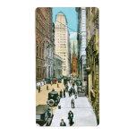 Vintage Wall Street que parece del oeste, New York Etiqueta De Envío