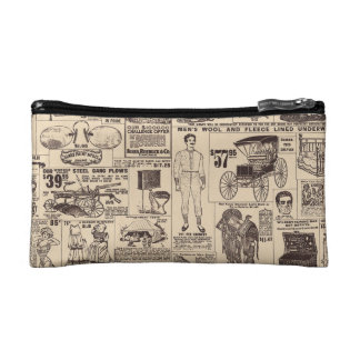 Vintage Wallpaper Advertisement Cosmetic Bag