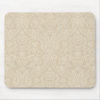 Vintage Wallpaper Beige Floral Elegant Damask Mouse Pad