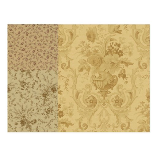 Vintage Wallpaper Brown and applied Postcard