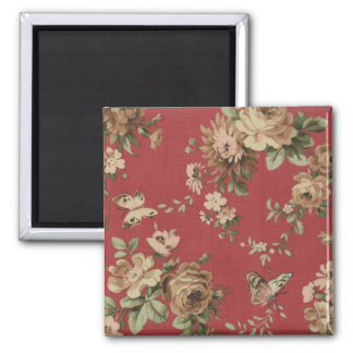 Vintage Wallpaper Flowers and Butterflies save Magnet
