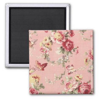 Vintage Wallpaper Flowers and Butterflies wink Magnet
