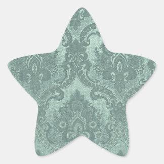 Vintage Wallpaper Pattern Blue Star Sticker