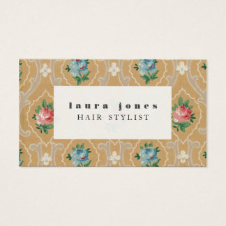 Vintage Wallpaper Pattern Hair Stylist Template Business Card