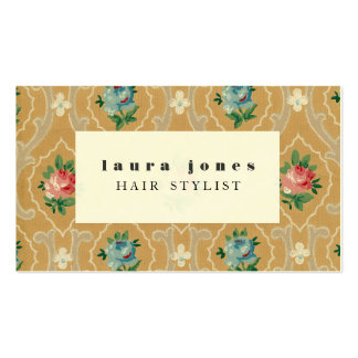 Vintage Wallpaper Pattern Hair Stylist Template Double-Sided Standard Business Cards (Pack Of 100)