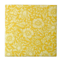 Vintage Wallpaper Pattern, Yellow Mallow Ceramic Tile