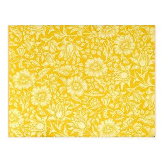 Vintage Wallpaper Pattern, Yellow Mallow Postcard