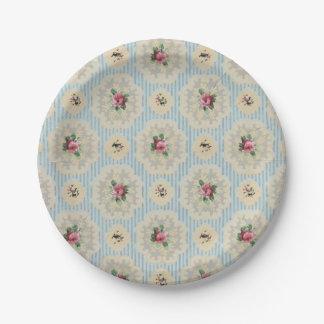 Vintage wallpaper pink blue floral paper plates