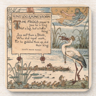 Vintage Walter Crane: King log and king stork Beverage Coasters