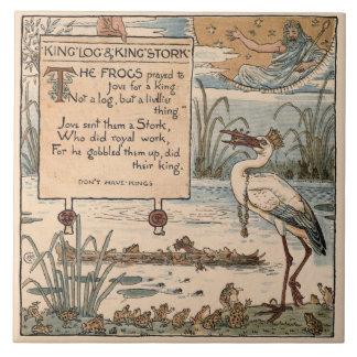 Vintage Walter Crane: King log and king stork Ceramic Tile