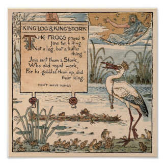 Vintage Walter Crane: King log & king stork small Posters