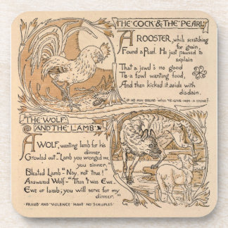 Vintage Walter Crane: Rooster & Pearl Wolf & Lamb Coaster