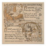 Vintage Walter Crane: Rooster & Pearl Wolf & Lamb Poster