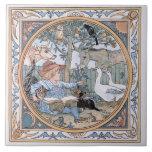 Vintage Walter Crane: The child, the farm animals Large Square Tile