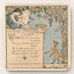 Vintage Walter Crane: The fox and the grapes Beverage Coaster