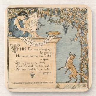Vintage Walter Crane: The fox and the grapes Coasters