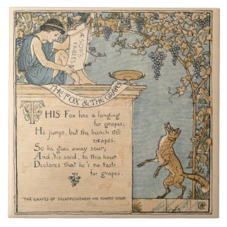 Vintage Walter Crane: The fox and the grapes Large Square Tile