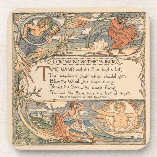 Vintage Walter Crane: The wind and the sun Coaster